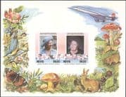 Nevis 1985  Royalty/ HM Queen Mother/ Concorde/ Planes/ People  imperf m/s  (n30669a)