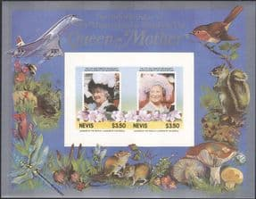 Nevis 1985  Royalty/ HM Queen Mother/ Concorde/ Planes/ People  imperf m/s  (n30669b)