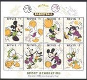 Nevis 1998 Disney  /  Mickey Mouse  /  Basketball  /  Sports  /  Games  /  Animation 8v sht (d00235)