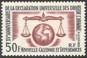 New Caledonia 1963 Declaration of Human Rights 15th Anniversary/ Scales of Justice/ UN 1v (n42108)