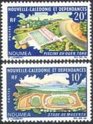New Caledonia 1967 Sports/ Stadia/ Stadium/ Buildings/ Architecture/ Football/ Swimming 2v set (n42135)