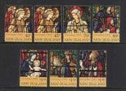New Zealand 1995 Christmas  /  Stained Glass 7v set n20639