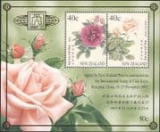 New Zealand (NZ) 1997 Roses/ Flowers/ Nature/ Plants/ StampEx 2v m/s (n16557)