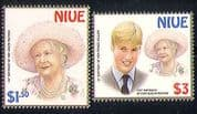 Niue 2000 Royalty  /  Prince William  /  HM QM 2v set (n30664)