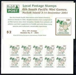 Norfolk Is 2001 Owl  /  Birds  /  Sport  /  Games 20v bklt (n27704)