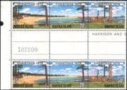 Norfolk Island 1979 Christmas/ Greetings/ Trees/ Beach /Buildings 3v set s-t strip gutter pair (b210b)