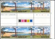 Norfolk Island 1979 Christmas/ Greetings/ Trees/ Beach /Buildings 3v set s-t strip gutter pair (b210c)