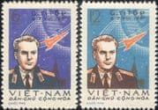 "North Vietnam 1961  G Titov/ Space Flight/ ""Vostok 2""/ Astronauts/ Rockets  2v set (b1525a)"