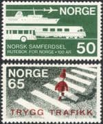 Norway 1969 Transport/ Road Safety/ Bus/ Train/ Ship/ Plane/ Railways/ Aviation/ Aircraft/ Animation 2v set (n45457)