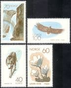 Norway 1970 Nature Conservation/ Wolf/ Eagle/ Waterfall/ Flowers/ Birds/ Animals/ Plants/ Falls/ Raptors/ Environment/ Nature/ Wildlife 4v set(n43412)