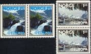 Norway 1977 Europa/ Tourism/ Waterfall/ Nature/ Harbour/ Boats/ Trees 2v bklt prs (n44875)