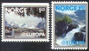 Norway 1977 Europa/ Tourism/ Waterfall/ Nature/ Harbour/ Boats/ Trees 2v set (n25947)
