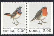 Norway 1982 Birds  /  Nature  /  Robin  /  Bluethroat 2v bklt pr (n33247)