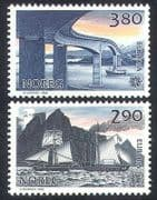 Norway 1988 Europa  /  Transport  /  Communication  /  Steam Ship  /  Road Bridge 2v set n39868