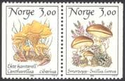 Norway 1989 Chanterelle/ Butter Mushroom/ Fungi/ Mushrooms/ Plants/ Nature 2v bklt pr (n43102)