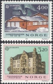 Norway 1990  Europa/ Post Office Buildings/ Architecture/ Postal  2v set  (n46396)