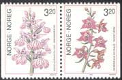 Norway 1990 Red Helleborine/ Common Spotted Orchid/ Flowers/ Nature/ Plants/ Conservation 2v bklt pr (n43100)