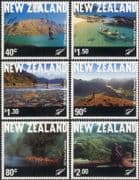 NZ/New Zealand 2001 Tourism/ Mountains/ National Park/ Canoeing/ Boats/ Sports 6v set (s5161a)