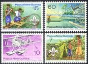 Papua New Guinea/PNG 1976 Planes/ Aircraft/ Aviation/ Scouts/ Canoe/ Transport 4v set (n21411)