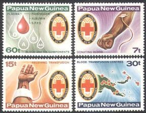 Papua New Guinea/ PNG 1980 Blood Donors/ Donation/ Red Cross/ Health/ Medical Welfare/ Maps 4v set (n18147)