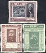 Peru 1957 Telegraph 100th/ Communication/ Telecomms/ Harbour/ Commerce 3v (n43970)