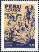 Peru 1988 Journalists' Fund/ Helicopter/ Newspapers/ Aviation/ Aircraft/ Transport 1v (n46166)