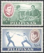Philippines 1962 Rizal Foundation Fund/ Sports/ Fencing/ Chess/ Board Games 2v set (n28933)