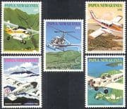 PNG/Papua New Guinea 1981 Missionary Aviation/ MAF/ Planes/ Helicopters/ Aircraft/ Aviation/ Transport 5v set (n41751)