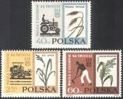 Poland 1963 FAO/ FHH/ Tractor/ Wheat/ Rice/ Plants/ Freedom From Hunger 3v set (n30548)