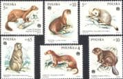 Poland 1984 Marmot/ Beaver/ Marten/ Stoat/ Fur/ Animals/ Nature/ Clothes 6v set (n44426)