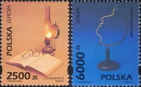 Poland 1994  Europa/ Discoveries/ Science/ Oil Lamp/ Book/ Electricity/ Astronomy  2v set (ex1094)