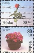 Poland 1995  Europa/ Peace/ Freedom/ Barbed Wire/ Flowers/ Helmet/ War/ Military  2v set (ex1092)