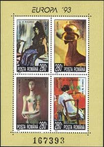 Romania 1993 Europa/ Contemporary Art/ Painting/ Sculpture/ Artists/ Statues  4v m/s (n16425t)