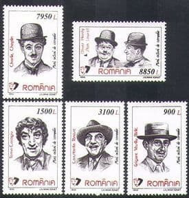 Romania 1999  Chaplin/ Laurel & Hardy/ Film/ Cinema/ Comic Actors/ People   5v set  (n37007)