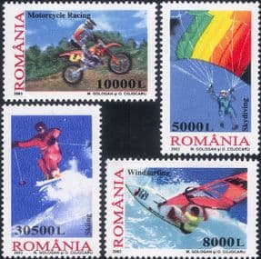 Romania 2003 Motorcycle Racing/ Skiing/ Skydiving/ Windsurfing/ Extreme Sports 4v set  (n17672r)