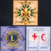 Romania 2004 Scouts/ Scouting/ Red Cross/ Crescent/ Lions International  3v set  (n17672p)