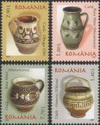 Romania 2007 Romanian Pottery/ Ceramics/ Art/ Craft/ Jugs/ Pots 4v set (n16425g)