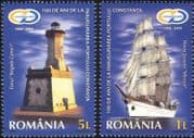 Romania 2009 Constanta Harbour 100th/ Sailing Ship/ Lighthouse/ Boats/ Buildings/ Transport/ Architecture/ Heritage 2v set (n44777)