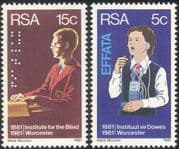 RSA/South Africa 1981 Deaf/ Blind/ Braille/ Medical/ Health/ Welfare 2v set (n43982)