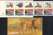 "RSA/South Africa 1996 ""BIG FIVE""/ Lion/ Leopard/ Rhino/ Elephant/ Buffalo/ Animals/ Wildlife/ Nature 5v + labels bklt (n17204)"