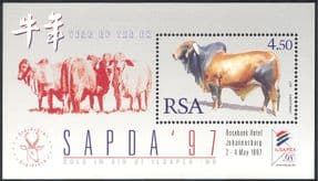 RSA/South Africa 1997 Year of the Ox/ Cattle/ Greetings/ Animals/ Nature/ StampEx 1v m/s (s5632)