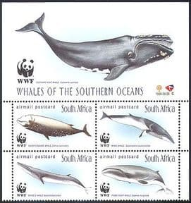 RSA  /  South Africa 1998 WWF Whales  /  Marine  /  Conservation  /  Environment 4v blk s2543