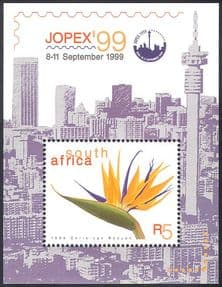 RSA/South Africa  JOPEX'99/ Bird of Paradise Flower/ Plants/ Nature/ StampEx 1v m/s (s3178/)