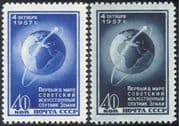 Russia 1957 First Artificial Satellite/ Space/ Satellites /Globe/ Rockets /Science 2v set (n33108)