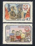 Russia 1959 Coal Mining  /  Miner  /  Steel Mill  /  Workers  /  Education  /  China 2v set (n33597)