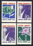 Russia 1963 Peace  /  Arms  /  Atomic  /  Energy  /  Flower  /  Rocket  /  Animation 3v + impf (n33591)
