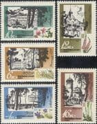 Russia 1967 Health Resorts/ Flowers/ Plants/ Tourism/ Buildings/ Architecture/ Nature 5v set (n17738)