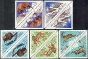 Russia 1973 Bison/ Ibex/ Deer/ Beaver/ Snowcocks/ Nature Reserves/ Animals/ Birds/ Wildlife/ Conservation 5v t-b prs (tete-beche pairs) (n44085)