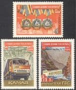 Russia 1974 Revolution/ Medals/ Truck/ Lorry/ Dam/ Hydro-Electricity/ Power Station/ Transport/ Train/ Tractor 3v set (n42957)