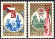 Russia 1975 WWII Liberation/ Bridge/ Buildings/ Architecture/ Flags 2v set (n43071)